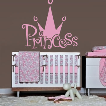 Wall decal decor decals princess crown nursery inscription letter cartoon cheerful girl story (m607)