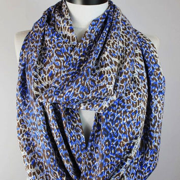 blue leopard infinity scarf, scarf, scarves, long scarf, loop scarf, gift