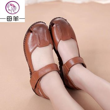 Summer Women Shoes Genuine Leather Soft Outsole Flat Shoes Woman Flat Sandals 2017 New