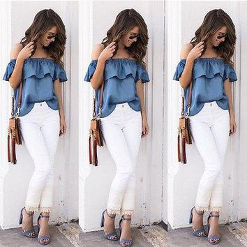 New Women Summer Vintage Off Shoulder Tops Casual Party Jeans Shirt Cotton Denim Blouse Ruffle Sleeve Blouses