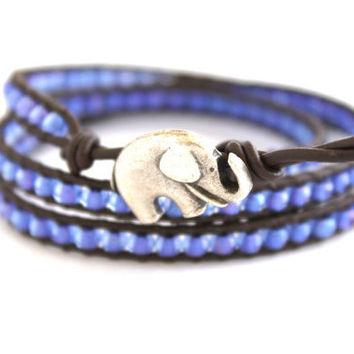 Lucky Elephant Pastel Seed Bead Leather Wrap Bracelet. Blue Purple Shimmer Beach Wrap on Brown Greek Leather. Wraps Three Times