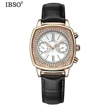 IBSO Complete Calendar Quartz watch Woman Fashion Week Display Womens Watches 2017 Genuine Leather Strap Montres Femmes
