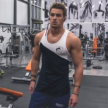 New Men's Sleeveless T Shirts Summer Cotton Patchwork Male Tank Tops Gyms Clothing Bodybuilding Undershirt Fitness Tank Tops