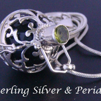 Sterling Silver Harmony Ball with Peridot Gemstone and Black Chime Ball in 925 Silver Cage, Bola Necklace, Pregnancy Gift, Angel Caller 578