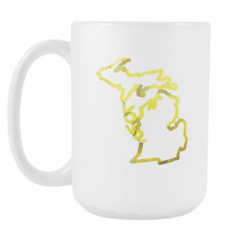 Love Michigan State Flag Map Outline 15oz Mug