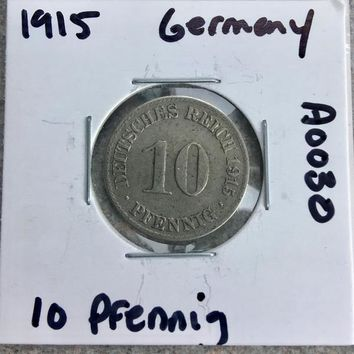 1915 German Empire 10 Pfennig Coin A0030