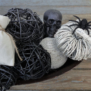 Spooky Chic Bowl Filler, Spooky Chic Halloween Decor, Halloween Bowl Filler, Black and White Halloween, Decorative Halloween Centerpiece