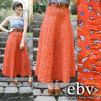 Vintage 70's NOVELTY PRINT High Waist Hippie Maxi Skirt by shopEBV