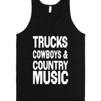 Trucks Cowboys And Country Music (Dark Tank)-Unisex Black Tank