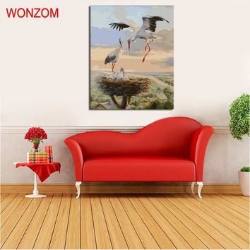 WONZOM Crane Animal Oil Pictures Painting By Numbers DIY Digital Coloring On Canvas Frameless Home Decoration NO Frame  40x50cm