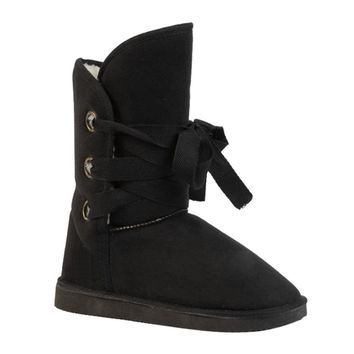 Black Winter Faux Fur Snow Ankle Buckle Biker Boots Shoes