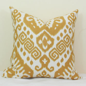 Gold ikat pillow cover 18x18 20x20 22x22 24x24 26x26 Euro sham Gold pillow Ikat lumbar pillow Nate Berkus 12x20 13x20 12x24 16x24 16x26
