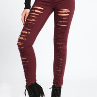 SHREDDED HIGH WAISTED JEANS