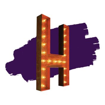 """36"""" Letter H Lighted Vintage Marquee Letters (Rustic)"""