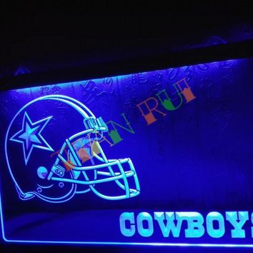 LD317- Dallas Cowboys Helmet NR Bar   LED Neon Light Sign     home decor shop crafts