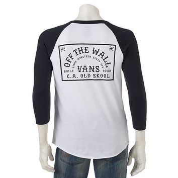 Men's Vans Off The Wall Graphic Raglan 3/4 Sleeve T-Shirt -Size XL/Lrg/Md - NWT