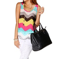 Multi Color Chevron Open Back Top