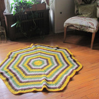 STOREWIDE SALE... 70s fall colors afghan rug