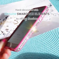 S A L E // Using GENUINE Swarovski Elements Clear Crystal for iPhone 5 5S Bling DARK PINK Bumper Case Cover