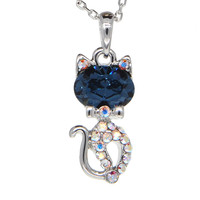 Dear Deer White Gold Plated Cat Swarovski Elements Pendant Necklace
