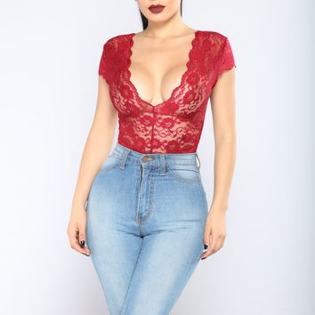 Seven Days A Week Lace Bodysuit - Burgundy