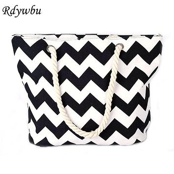 Rdywbu ZIGZAG STRIPED LARGE CANVAS TOTE BAG - Women Summer Casual Cord Shoulder Bag Female Shopping Beach Handbag Bolsas B640046