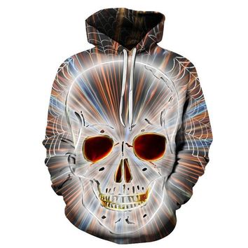 Skull Head Spider Web Speed Tunnel Vision All Over Print Hoodie Sweater