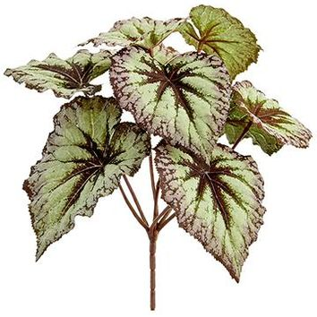"Purple Green Artificial Begonia Leaves Bush - 9"" Tall"