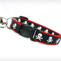 "Cat Collar - ""Lil' Danzig"" - Skulls on Black and Red"