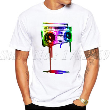 2017 Hot Sales New Fashion Melting Boombox design Men T-shirt Short Sleeve Geek Tops digital rainbow color Printed Hipster Tee