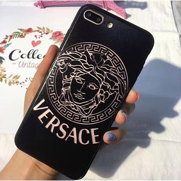 Versace Classic Popular Creative Personality Hollow iPhone Phone Cover Case For iphone 6 6s 6plus 6s-plus 7 7plus iPhone 8 8 Plus iPhone X Black I13566-1