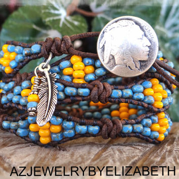 Native American Wrap, Southwestern Jewelry, Seed Bead Bracelet, Beaded Wrap Bracelet, Wrap Bracelets, Womens Leather, Wrap Around Bracelets.