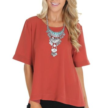 Go With The Flow Blouse Marsala