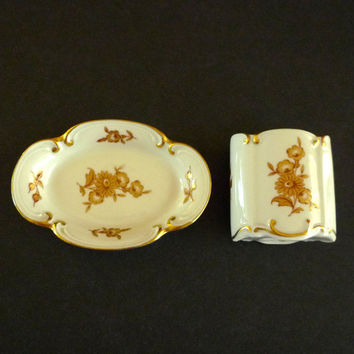 Porcelain Toothpick Holder and Tray, JLMenau Graf Von Henneberg Porcelain Cigarette Lipstick Holder and Tray