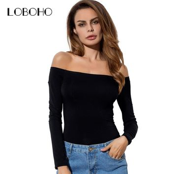 Sexy Off The Shoulder Tops For Women 2018 Spring New Fashion Long Sleeve Cotton Tee Shirts Women Casual T Shirts Solid Color