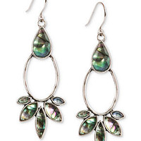 Lucky Brand Earrings, Silver-Tone Abalone Stone Drop Earrings - All Fashion Jewelry - Jewelry & Watches - Macy's