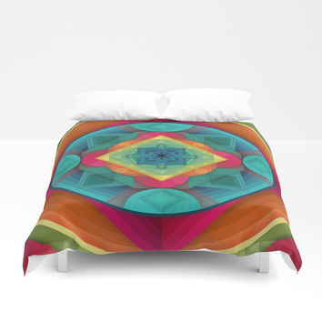 Geometric Mandala Tie Dye Colorful Pattern Abstract Design Duvet Cover by AEJ Design