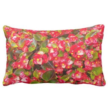 Red Wax Begonias Floral Lumbar Pillow