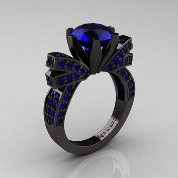 French 14K Black Gold 3.0 CT Blue Sapphire Engagement Ring, Wedding Ring R382-14KBGBSS