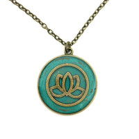 Lotus flower necklace / spiritual jewelry / lotus jewelry / flower necklace / teal jewelry / lotus flower pendant / japanese jewelry