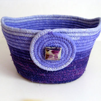 Coiled Rope Basket or Large Bowl in Purple Lavender