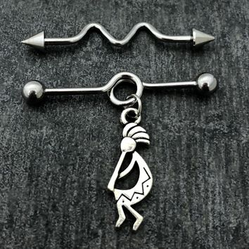 14 gauge Kokopelli Industrial barbell, stainless steel .....Available Barbell sizes 32mm, 35mm, 38mm