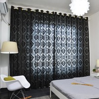 Latest Elegant Black Flocking Solid Color Curtain for Bedroom Shade for Living Room Window Curtain Salon Home Decor Blue Cortina