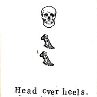 Funny Skeleton Anatomy Medical Humor Greeting Card - Head Over Heels