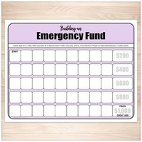 Building an Emergency Fund Worksheet in Purple (by $20 increments) - Printable