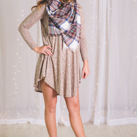 Totes Adorbs Long Sleeve Ribbed Dress (Taupe)
