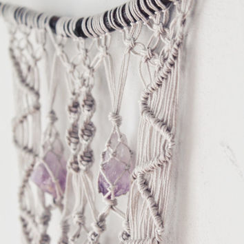 Macrame Wall Hanging With Amethyst Crystals - Unique Bohemian Wall Art - Grey Color