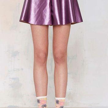 Purple Skater Skirt with Zipper