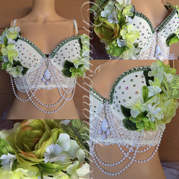 Green and White Floral Bustier , Rave Bra, EDC Outfit, Dance Wear - Mayrafabuleux Original Design