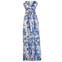 Lily Boutique Blue and Ivory Floral Print Maxi Dress, Blue and Ivory Maxi Dress, Cute Blue and White Dress, Blue and White Floral Maxi Dress, Blue and White Strapless Maxi Dress Lily Boutique